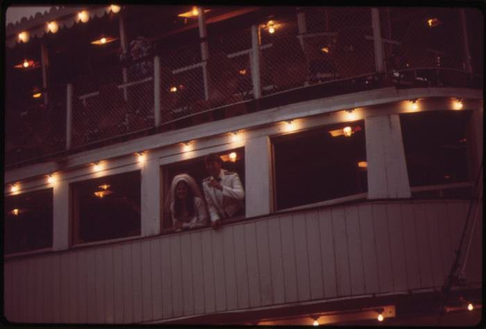 Bride and Groom at Wedding Reception on the Belle of Louisiana Steamboat, May 1972  by William Strode, via the U.S. National Archives Flickr.