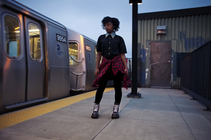 Diamond is wearing Dr. Martens 8761 BXB boots.