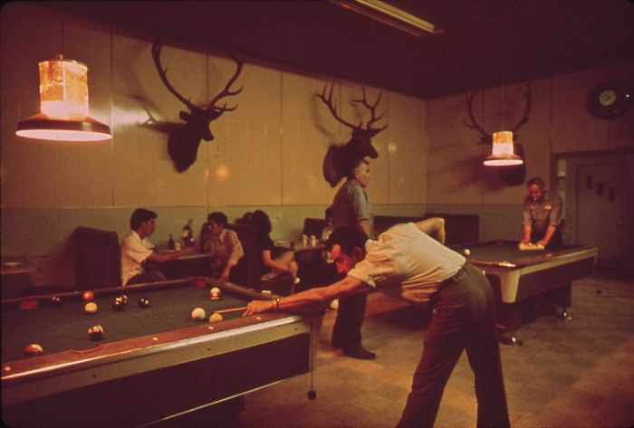 Pool Hall (1972) by William Strode, via  Wikimedia Commons.