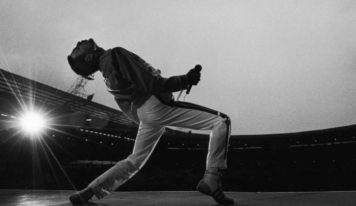 Freddie Mercury at Wembley Stadium, London, 1986.