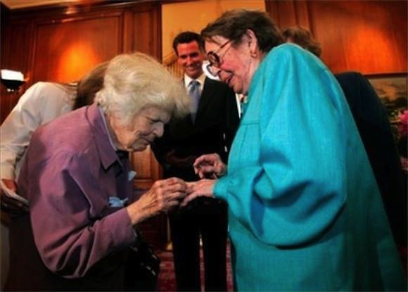 Del Martin and Phyllis Lyon getting married on June 16, 2008, in the first same-sex wedding to take place in San Francisco after the California Supreme Court's decision to legalize same-sex marriage in California.