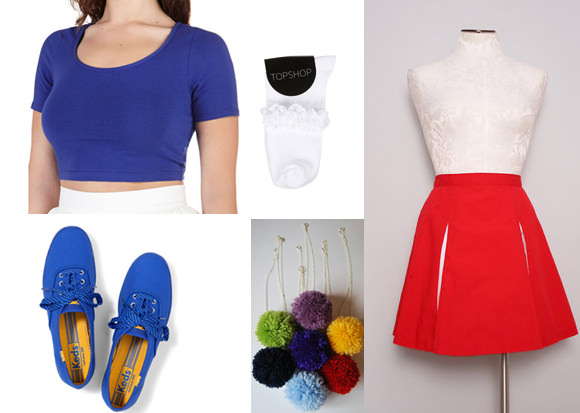 Far left column, top to bottom: On Crop of the World top in Cobalt, $13, Modcloth; champion polka dot lace sneakers, $40, Keds. Middle column, top to bottom: Lace trim ankle socks, $6, Topshop; pom-pom necklace, $10, Etsy. Far right: Vintage cheerleading skirt, $36, Etsy.