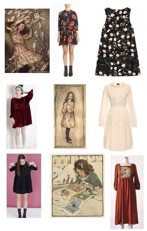 Left column, top to bottom: Arthur Rackham's Alice in Wonderland; velvet burgundy angel dress, The Whitepepper, $50-$100; 3/4 sleeve sailor dress, The Whitepepper, $88. Middle column, top to bottom: Poppium silk blousson dress, $455; Arthur Rackham's Alice in Wonderland; picture papers print, Jessie Willcox Smith, $50. Right column, top to bottom: Poppium 60s Pocket Pini in Black, House of Hackney, $407; cotton shirt dress, $188.50, Lowie; vintage terracotta dress, $58, The Loved One.