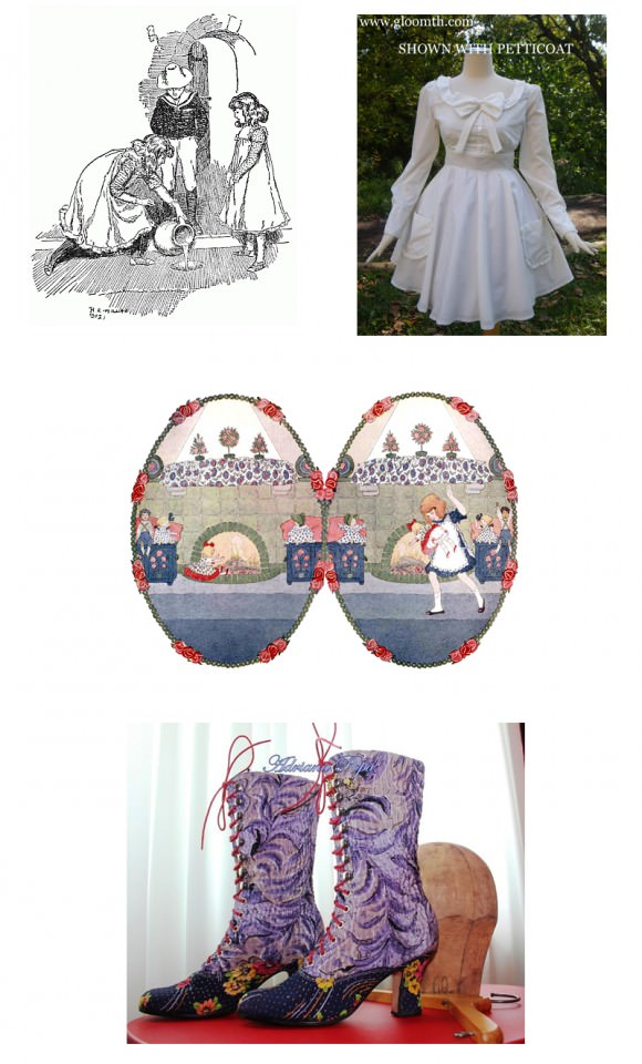 Top row, left to right: The Five Children and It, H.R. Millar; long-sleeved cotton dress, $130, Gloomth. Middle image: Little Songs of Long Ago: More Old Nursery Rhymes, Alfred Moffat. Bottom image: Victorian boots lace up high heels in Nepal, Etsy.com.