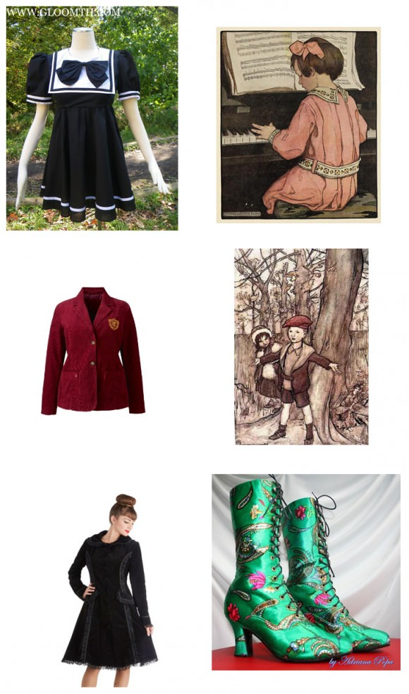 Left column, top to bottom: Nautical dress, $119, Gloomth; Timeout corduroy blazer, $90, SimplyBe; History of Haute style coat, $200, ModCloth. Right column, top to bottom: 'Voor we slapen gaan' illustrated by Jessie Willcox Smith; Peter Pan in Kensington Gardens illustrated by Arthur Rackham; ankle boots in crazy green floral print, $196.50, Etsy.