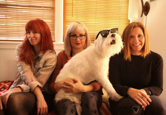 L-R: Jenn Prince, Ali Koehler, a dog, Patty Schemel.