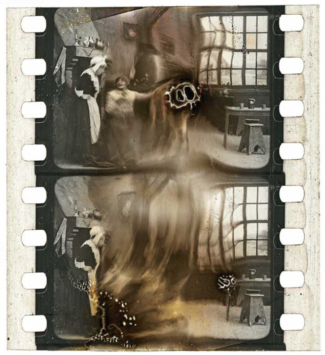Decomposed nitrate film frame clippings from the Turconi Collection, via 50 Watts.
