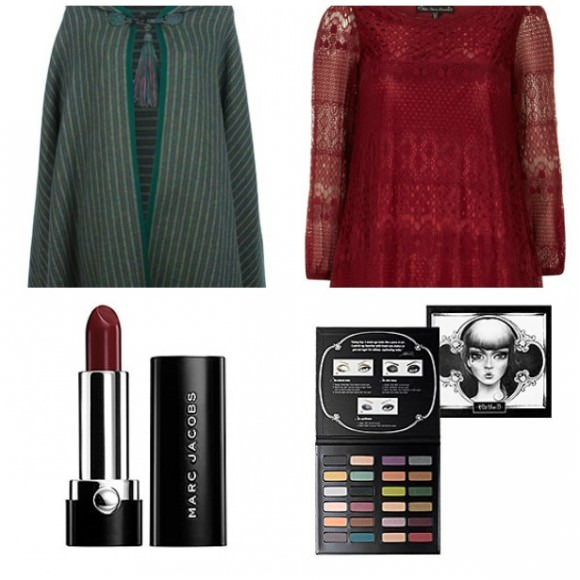 Top row, left to right: Yves Saint Laurent vintage cape,$1,287, Farfetch.com; Dorothy Perkins lace tunic, $49, Dorothy Perkins. Bottom row, left to right: Marc Jacobs Lovemarc Lip Gel in Sabatour, $24,Sephora; Kat Von D Limited Edition Spellbinding Shadow Book, $55, Sephora.