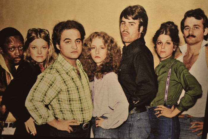 The 1977–1978 cast of Saturday Night Live. Via Crazy Like a Fanatic Fox. Original source unknown.