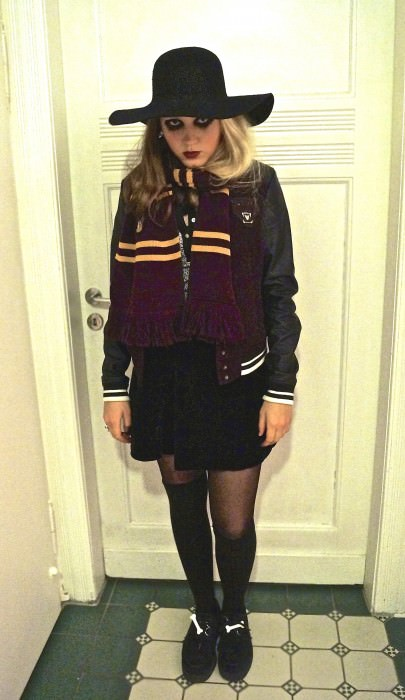 "We're gonna let Rosa explain her costume: ""The costume is a strange mix. Ahm...I am an eight-year-old girl with scary eyes. I go to Hogwarts—I am a Gryffindor—and I like to wear bones on my creepers! Yay!"" (Brühn, Germany)"