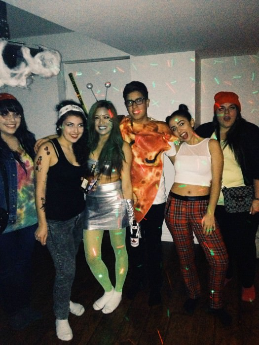 Victoria (second from right, as '90s Gwen Stefani) and friends (including Cheech and Chong, Amy Winehouse, an alien, and a slice of pizza). (California)