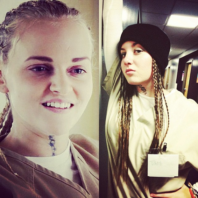 Left: Tricia from Orange Is the New Black. Right: Morgan as Tricia. (Calabasas, California)