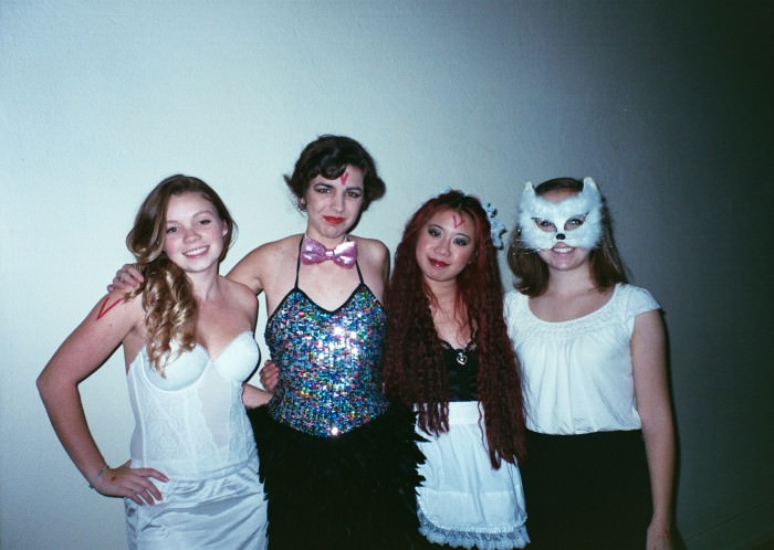 Kaitlen, Marissa, Elena, and Ana as Janet Weiss, Columbia, and Magenta from The Rocky Horror Picture Show + a cat. (Salem, Oregon)
