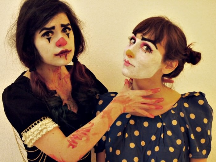 Vivian (left) and Matilda as scary clowns. (Bremen, Germany)