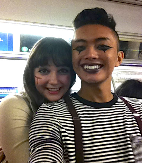 Charlotte (left) as Noriko Nakagawa from Battle Royale and Alex-Quan as a mime. (New York City)
