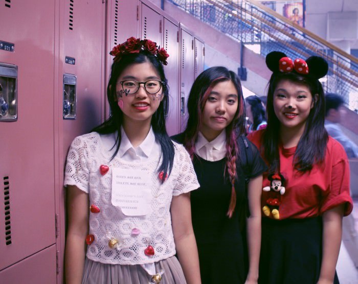 Left to right: Alice as an anti-Valentine, Sherry as Wednesday Addams, and Cindy as Minnie Mouse.