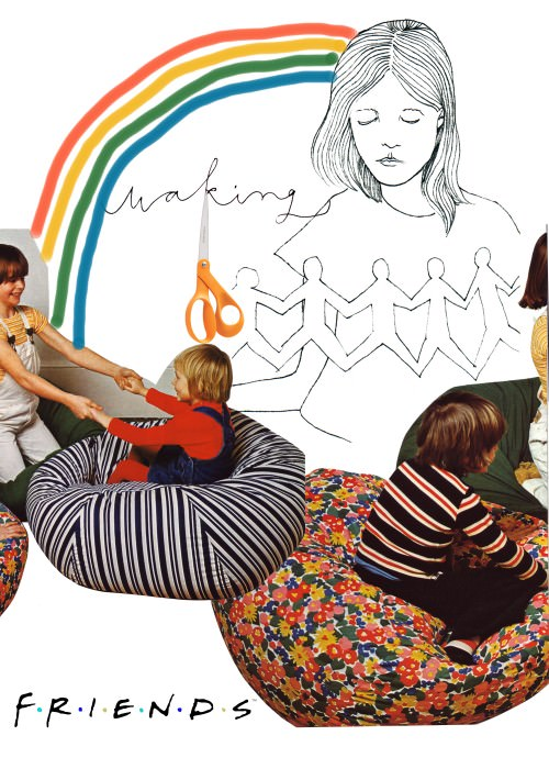 "Collage by Sonja. Line drawing by Brooke Nechvatel, scissors from an online catalog, and kids on beanbags from ""a cruddy craft book from the 1970s."" line drawing by"