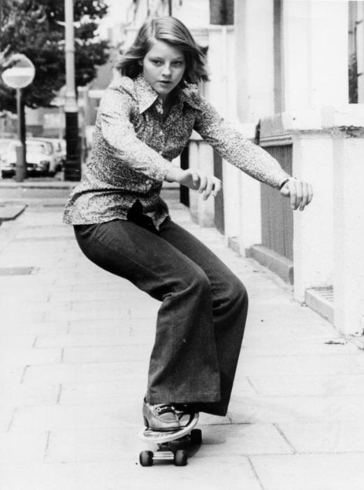 Jodie Foster skateboarding, 1976. Via Retronaut. Original source unknown.