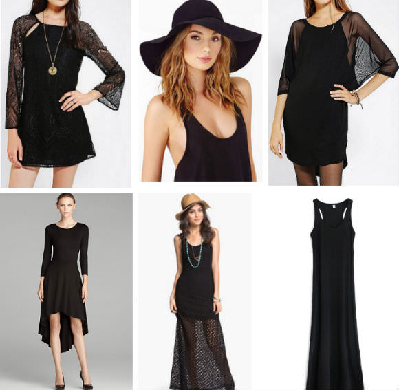 Clockwise from left: Lace bell sleeve dress, Urban Outfitters, $69, floppy hat, Nasty Gal, $40, tank maxi dress, Romwe, $40, crochet maxi dress, Nordstrom, $26.98, jersey dress, Bloomingdale's, $27
