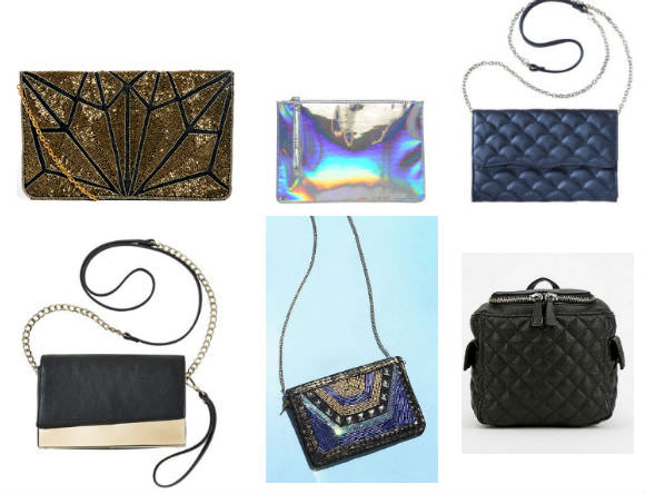 Clockwise from top left: Embellished clutch, $36, ASOS; holographic bag, $24, ASOS;  quilted handbag, Target, $20, quilted backpack, Urban Outfitters, $20, chain-strap wallet, Urban Outfitters, $29, gold-plated handbag, Target, $25