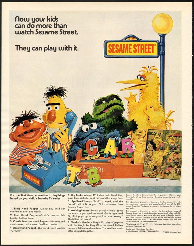 Vintage ad for Sesame Street toys by Topper Corporation. Via Muppet Wiki.
