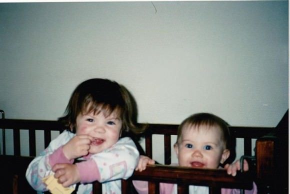 Kaite (left) and Shannon as babies.