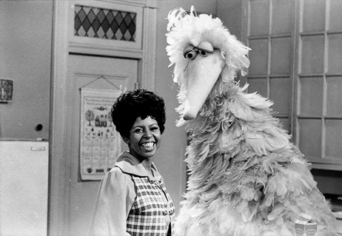 Loretta Long (as Susan) with Big Bird, from the first season of Sesame Street, 1969. Via Vintage Sesame.