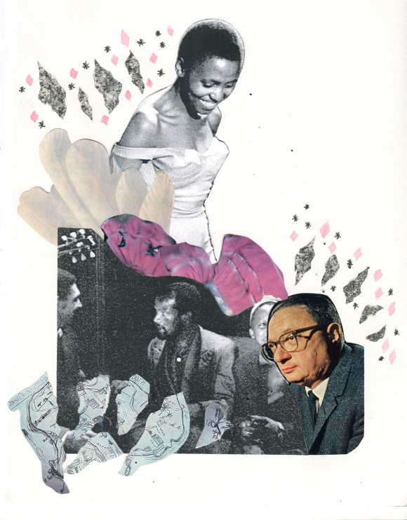 Collage by Camille. Still of Miriam Makeba in Come Back, Africa via IMDb.