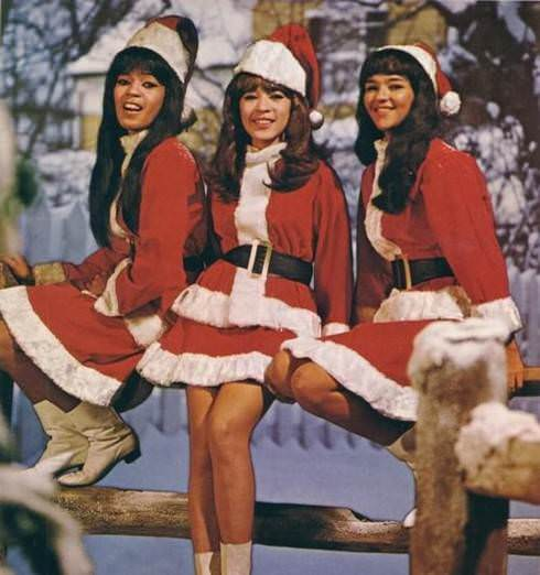 The Ronettes pictured in the album artwork for the 1963 compilation A Christmas Gift to You From Phil Spector. Via Entertainment Weekly.