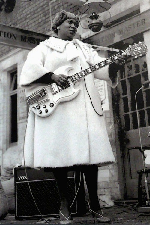 Sister Rosetta Tharpe at Chorltonville Station, c. 1963. Via Afropunk.