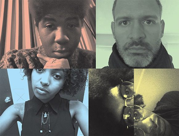 Clockwise from top left: Self-portraits of Cat Harris-White, Erik Blood, Terence Nance, and Asia Catherine Clarke.