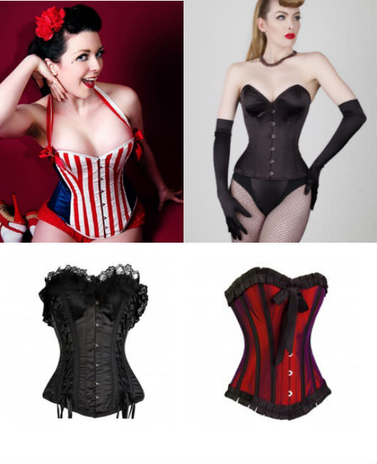 Clockwise from top: Boned corset, Etsy, $231; overbust corset, What Katie Did, $230; black ribbon corset, Corset Story, $109; overbust corset, Corset Story, $109