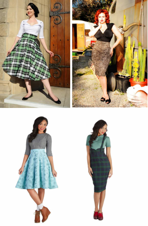 Clockwise from top left: High-waisted skirt in plaid taffeta, $108, Pinup Girl Clothing; pencil skirt in leopard, $48, Pinup Girl Clothing; skirt in green plaid, $65, Modcloth; A-line skirt, $63, Modcloth.