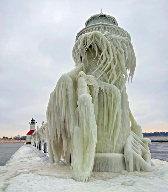 A wooly mammoth...no, wait, icicle-laden lighthouse, photographed by Tom Gill.