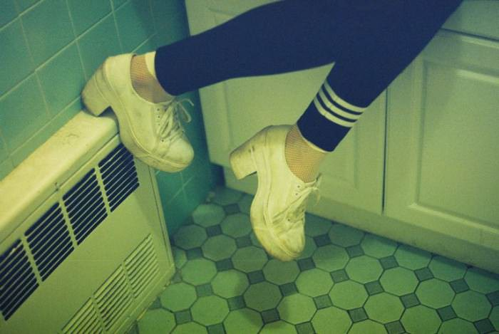 Leggings by Y-3, socks by American Apparel, model's own sneakers.
