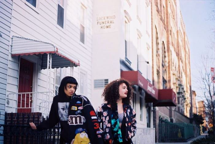 On Amery (left): her own hoodie and jacket. On Diana: track jacket by Adidas Originals, sequined top (draped over her shoulder) by Rodebjer, crop top by Nasty Gal, and skirt by Rachel Antonoff.