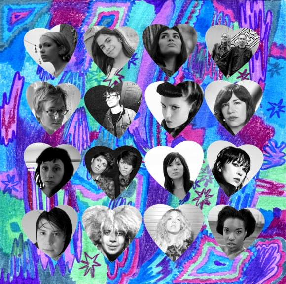 Illustration by Minna. Top row, left to right: Tavi, Storey Littleton, Suzy X., Aimee Mann, Ted Leo. Second row: Marianna Ritchey, Katy Davidson, Kate Nash, Carrie Brownstein. Third row: Katie Crutchfield, Tegan and Sara, Thao Nguyen, Dee Dee Penny. Bottom row: Geneviève Castrée, Kimya Dawson, MNDR, Psalm One.