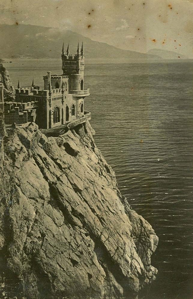Swallow's Nest, a castle near Yalta in southern Ukraine, circa 1930s, via Soviet Postcards.