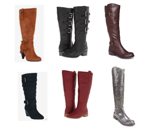 Clockwise from top left: Slouchy Suede Heeled Boots, Torrid, $69.50; Romantic Soles Arva Boots, Zappos, $70; Style&co. Derby Wide Calf Boots, Macy's, $69; BCBGeneration Malino Wide Calf Boots, Macy's, $70; Lumiani Internation Collection Boots, Zappos, $118; Strappy Wedge Boots, Torrid, $69.50.