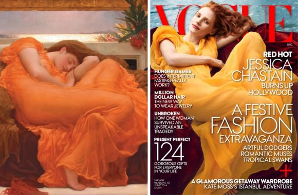 Sir Frederic Leighton's Flaming June, 1895, and Jessica Chastain on the cover of Vogue.