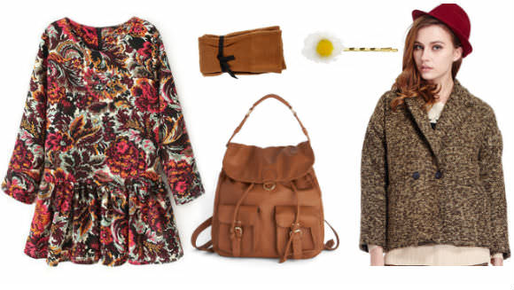 Top to bottom, from left: floral dress, Romwe, $35; ribbed tights, ASOS, $11; backpack, Modcloth, $68; daisy clips, ASOS, $15; coat, Romwe, $32.