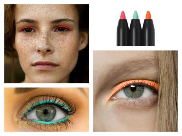 Clockwise from top left: pink liner photographed by Brigitte Sire; 3 Concept Eyes creamy waterproof eyeliner, $13 each, Style Nanda; orange eyeliner, photographed by Brydie Mack; teal liner, photographed by Ivy Boyd.