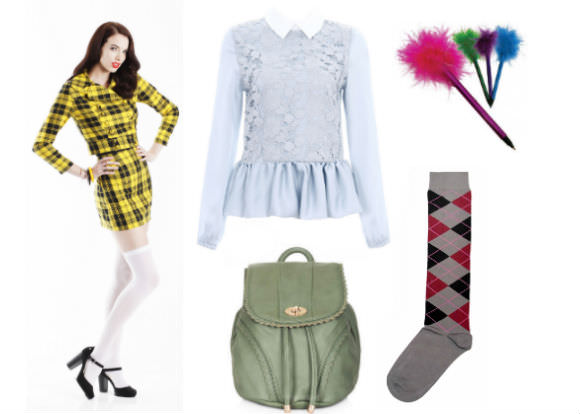 Far left: Clueless plaid skirt, $89, and cropped jacket, $269, Laurel and Hector. Center, top to bottom: collared blouse, $40, Romwe;  mini backpack, $56, Topshop. Far right, top to bottom: marabou pen, $17.50 for five, US School Supply; argyle socks, $15, BoldSocks.com.