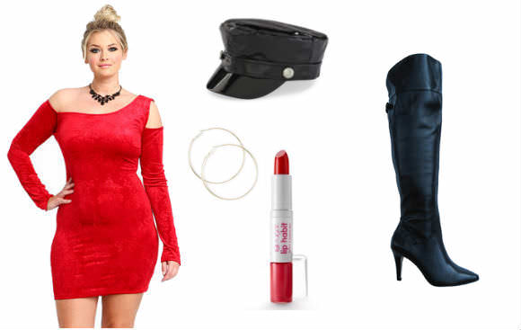 Far left: red velvet dress, $35, Love Culture. Center, top to bottom: captain hat, $3, Kmart; hoop earrings, $7.50, Claire's; Sugar Lip Habit Lipstick & Lip Gloss Duo in Racy Red, $10, Kohl's. Far right: thigh-high boots, $200, WideWidths.com.