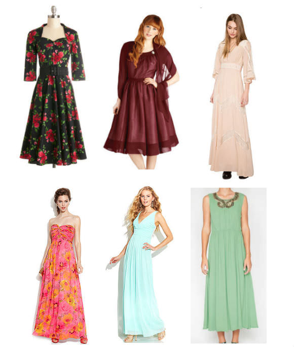 Clockwise from top left: floral dress, $85, Modcloth;  shawled dress, $150, Modcloth; pink dress, $153, Pixie Market; green dress, $20, Pixie Market; blue dress, $99, Macy's; strapless dress, $229, Macy's.