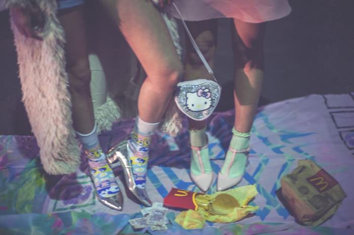Patterned socks on Alma (left) by MILKBBI.