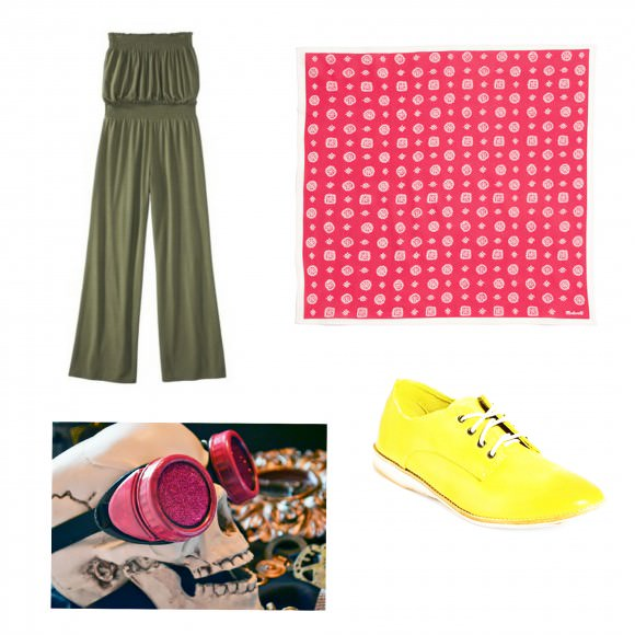Clockwise from top left: Quisp-inspired green jumpsuit; red bandanna; oxford; goggles