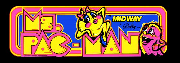 Ms. Pac-Man looking fly in the arcade game's logo. Via Crazy Kong.
