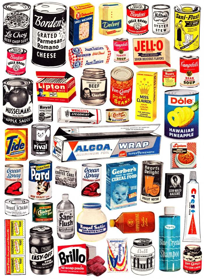 Vintage product labels via Cap & Design.