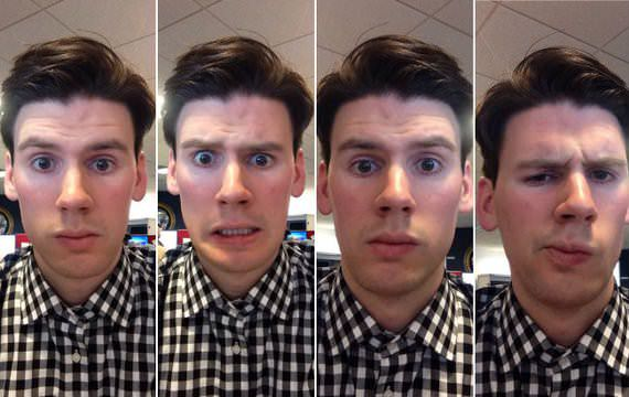 From left: Two Snapchat selfies compared to two GroupMe selfies, via the Atlantic.